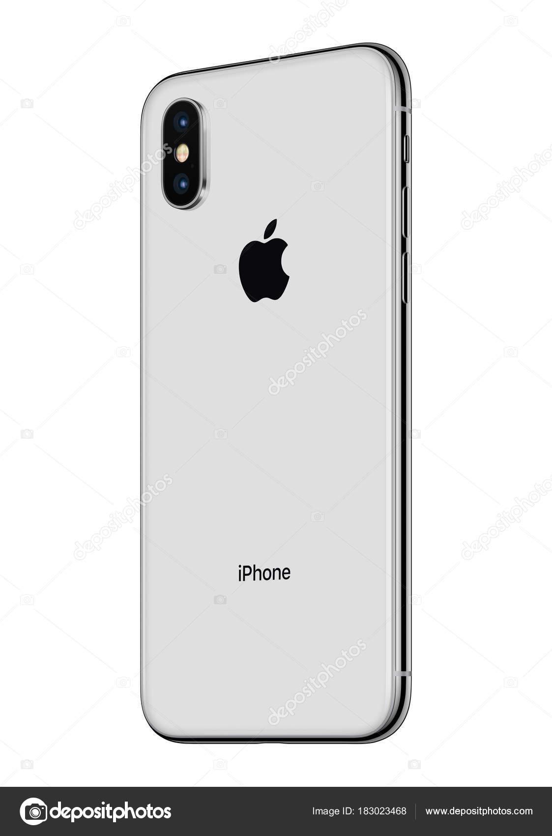 Iphone D Apple Argent X Arriere Legerement Pivote Isole Sur Fond