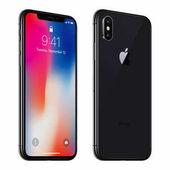 Černá otočená X iphone Apple s ios 11 lockscreen přední strana a zadní strana izolované na bílém pozadí
