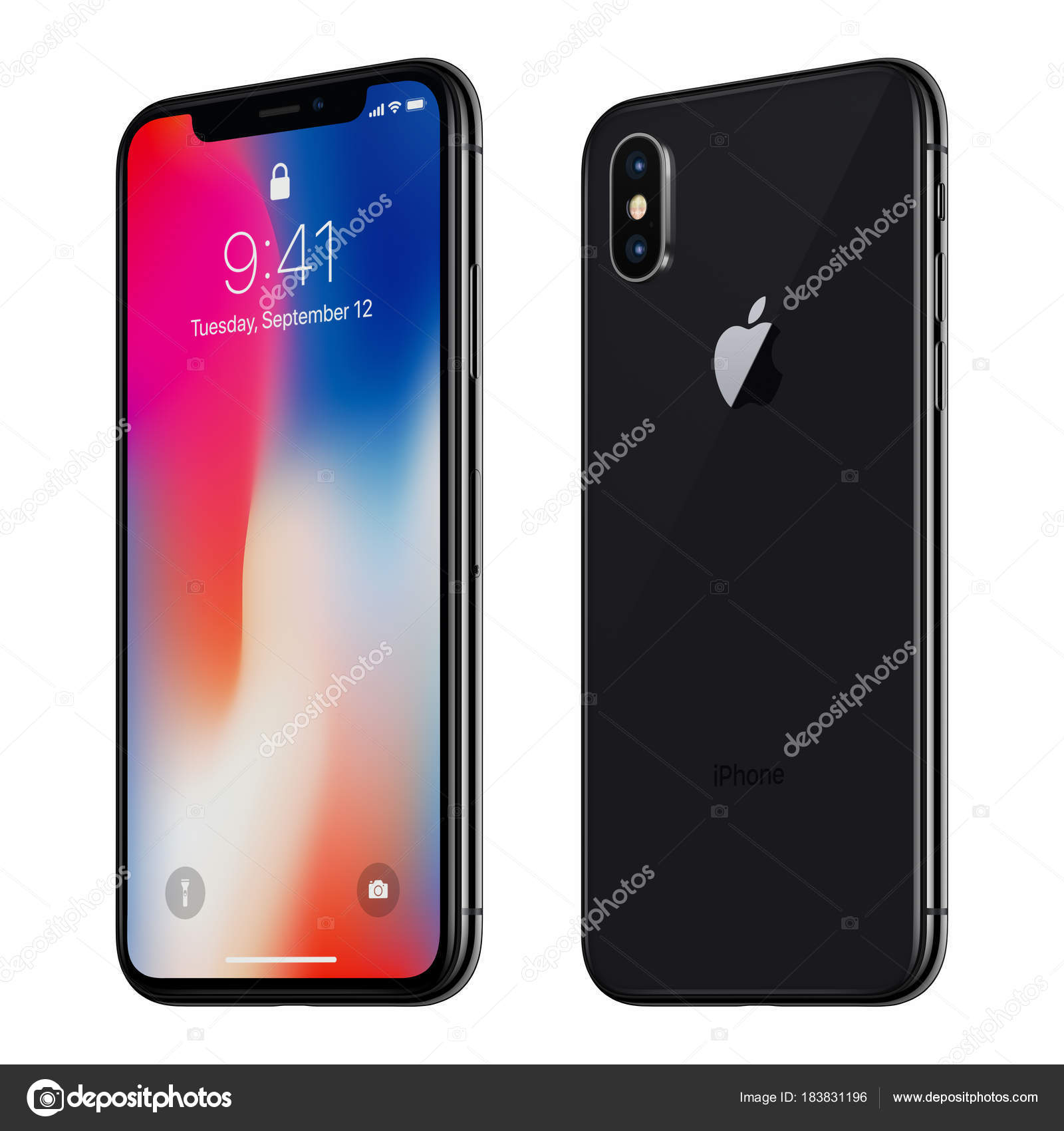 Black Tournee Apple Iphone X Avec Ios 11 Lockscreen Face Avant Et