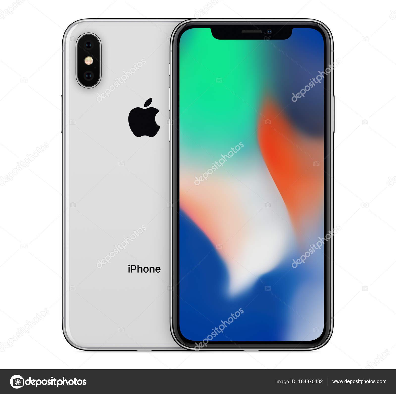 실버 애플 아이폰 X 이랑 벽지 화면 및 아이폰 10 뒤에 뒷면 전면 보기 — 스톡