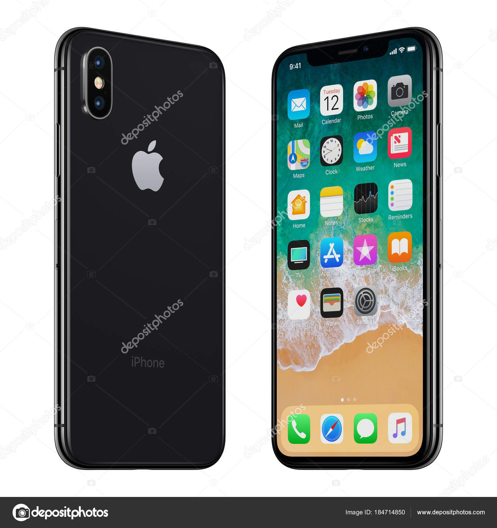 quality design cd0a6 098cd Black Apple iPhone X front side and back side turned towards each ...