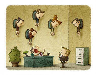 A boss in his office talks to an employee. On the wall of the office there are trophies with heads of employees stock vector