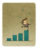 Podnikatel, žonglování s peníze získané nad sloupcový graf