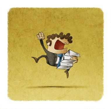 Successful businessman jumping with a document in hand. Happy excited entrepreneur celebrates victory or achievements in work.