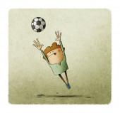 ilustrace malého chlapce, který je skákání chytit fotbalový míč
