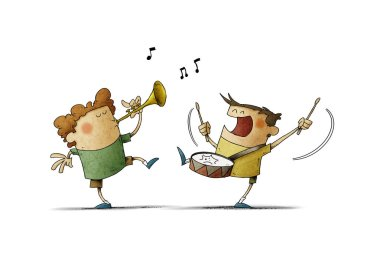 Children have fun making music, one plays the trumpet and the other a drum. isolated
