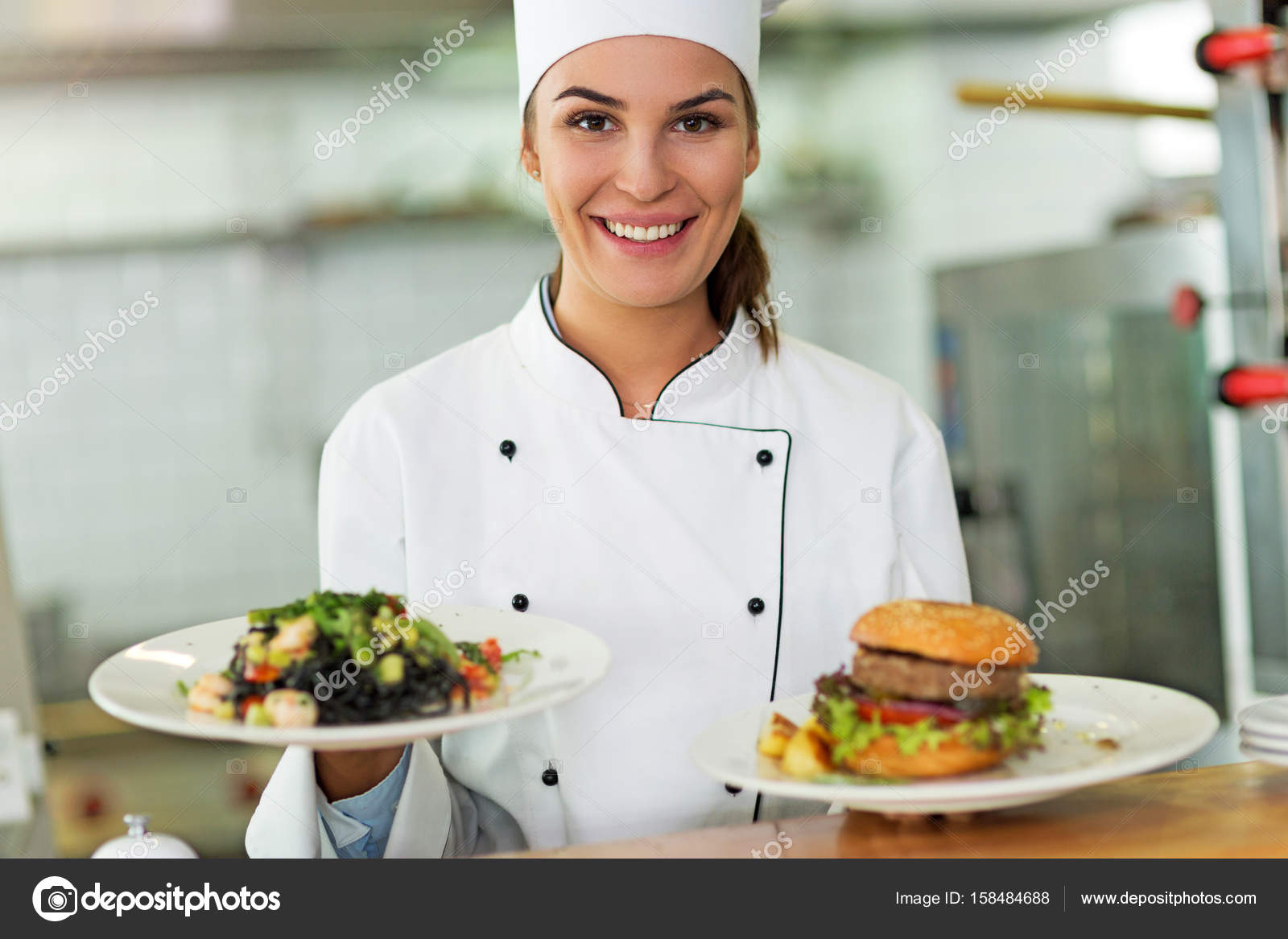 Female chef in kitchen — Stock Photo © pikselstock #158484688