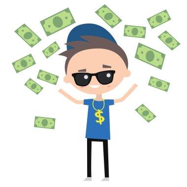 Rich boy throwing money around