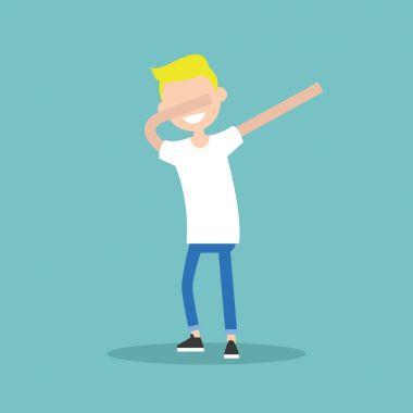 Young character making DAB dance / flat editable vector illustra