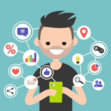Millennial consuming online content on mobile device