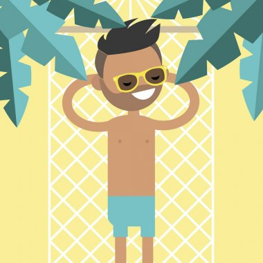 Young male character lying in a hammock under the palm trees. To