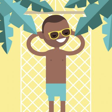 Young black character lying in a hammock under the palm trees. T