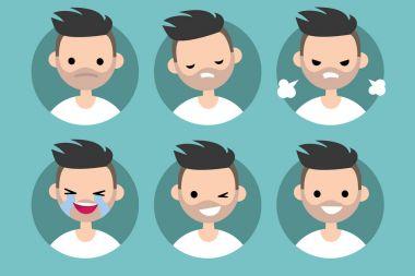 Bearded man profile pics / Set of flat vector portraits. upset,
