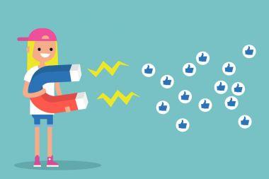 Social media marketing concept. Young blonde girl attracting lik