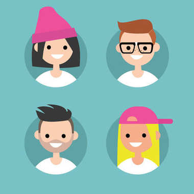Millennials profile pics / Set of flat vector portraits