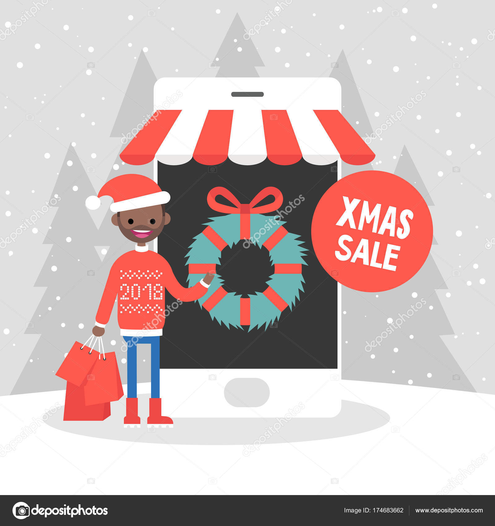 Xmas sale. Millennial character buying christmas gifts online. M ...