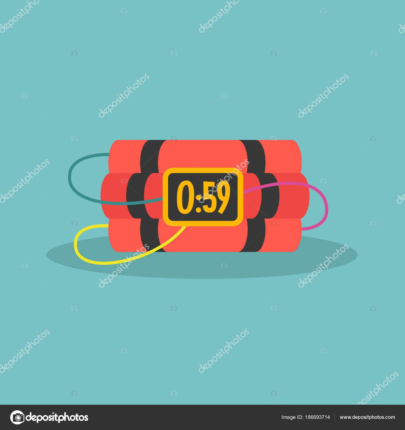 TNT time bomb with digital display / flat editable vector illust