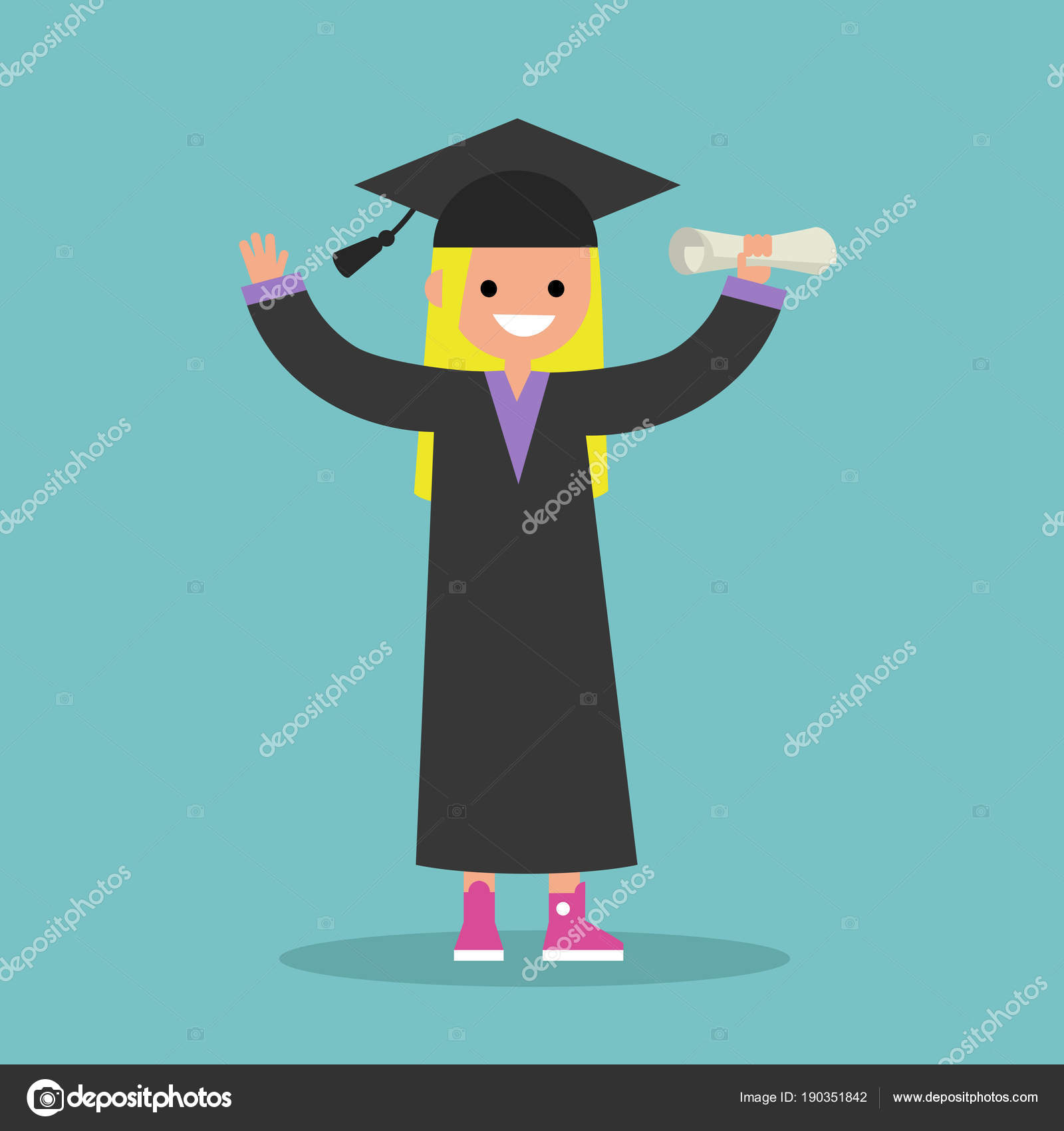 Graduated student wearing cap and gown / flat editable vector il ...