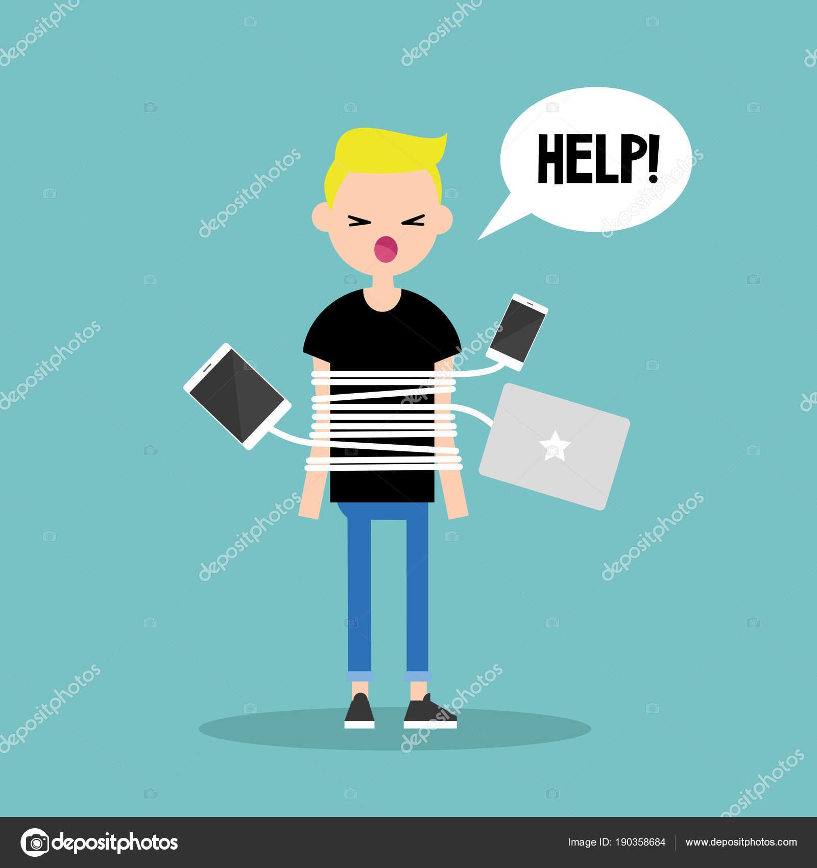 Neue Technologien sucht. Blonder Junge mit chargin gefesselt ...