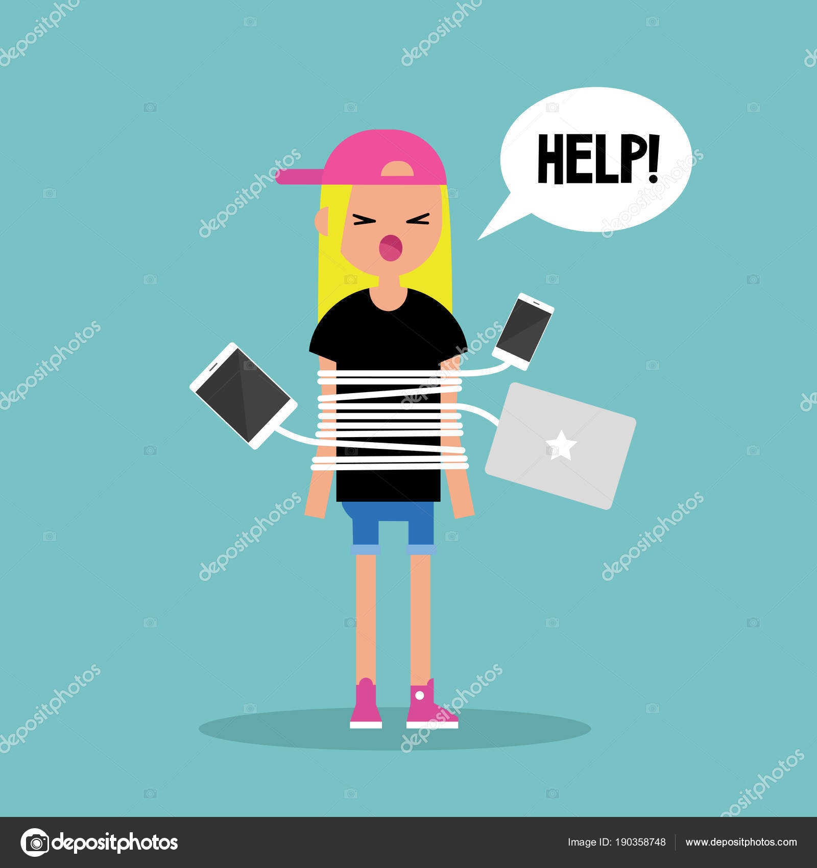 Neue Technologien sucht. Junge blondes Mädchen gefesselt mit chargi ...
