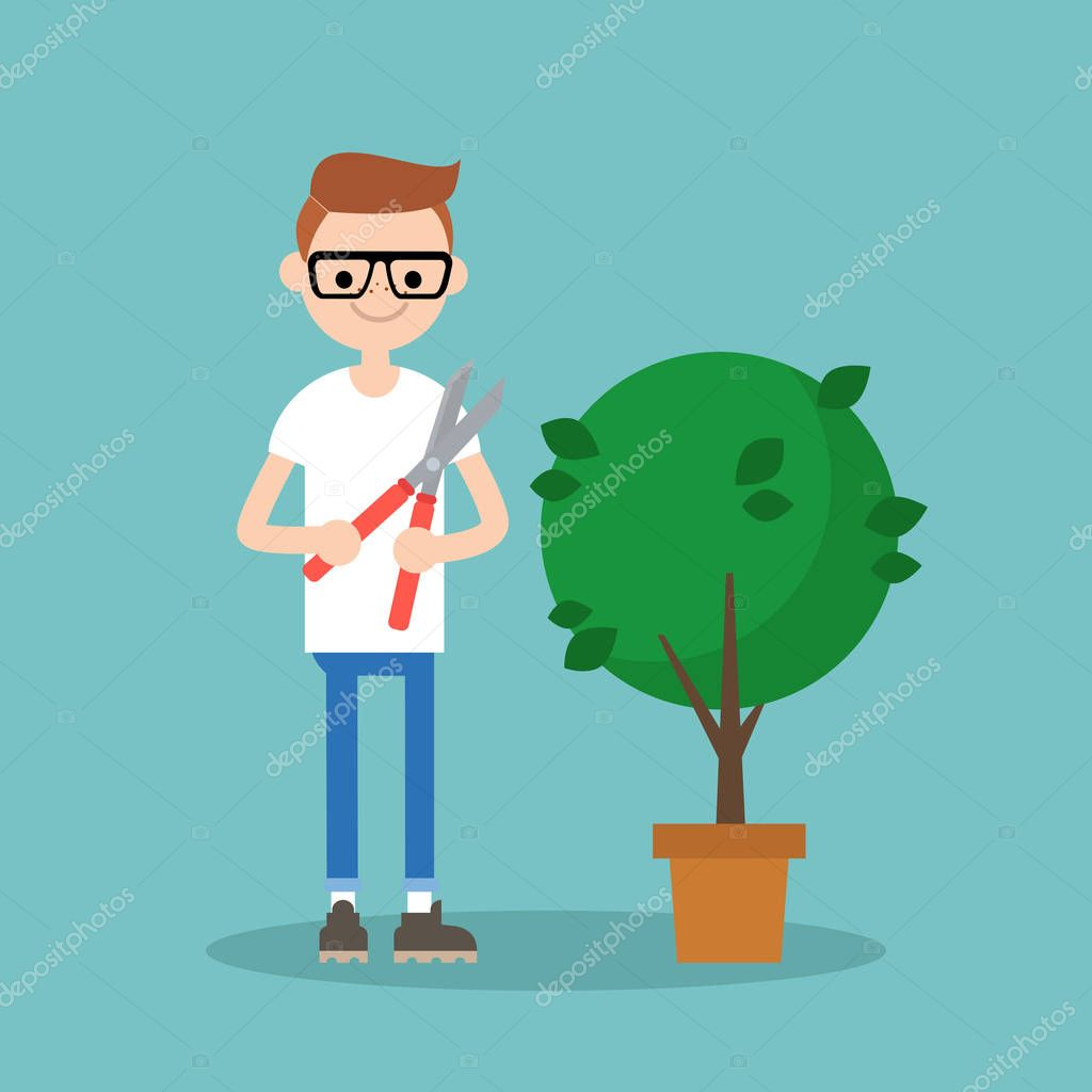 Young nerd cutting the bush with a pruner / flat editable vector