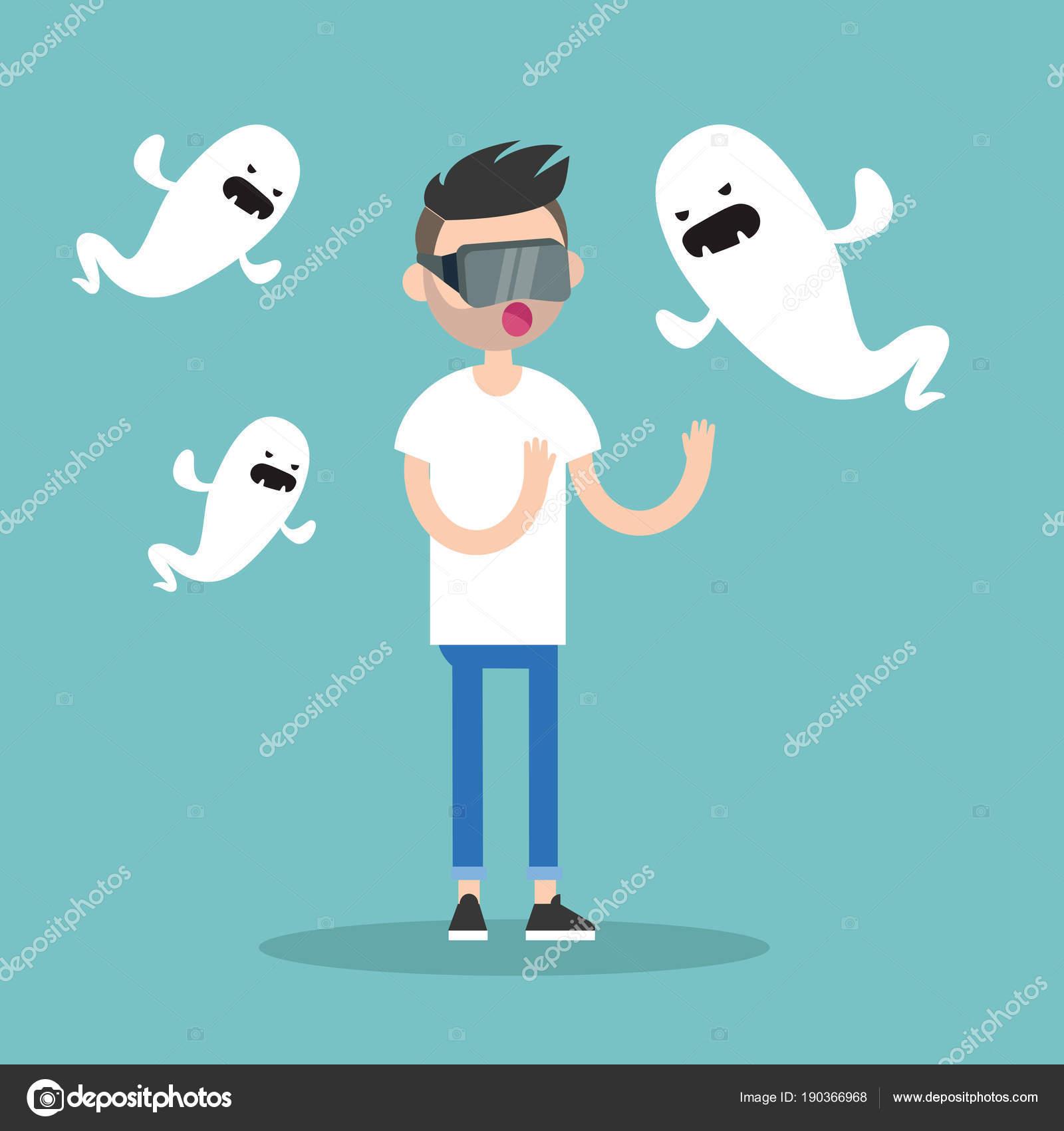 Tausendjährige Charakter Umgeben Von Virtuellen Geister Wohnung