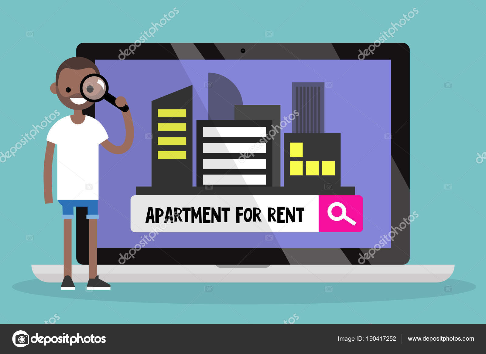 Looking For An Apartment For Rent. Young Black Man Looking Throu U2014 Stock  Vector