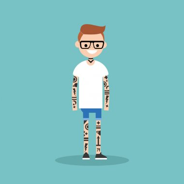 Young character covered with tattoo pattern. Subculture. Flat ed