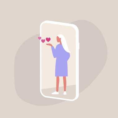 Saint Valentines Day, Young female character blowing kisses on a smartphone screen, millennial lifestyle