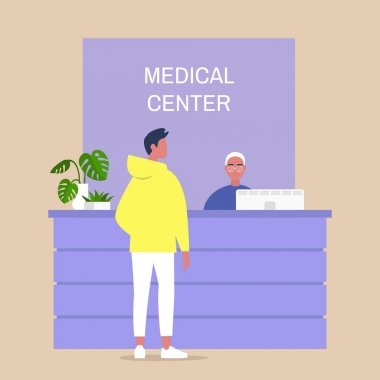 Medical center reception desk, young male character waiting for