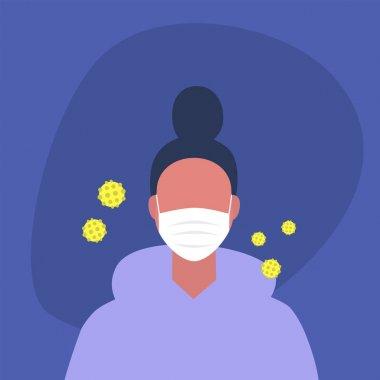 Koronavirüs salgını, koruyucu giysili genç bir kadın karakter.