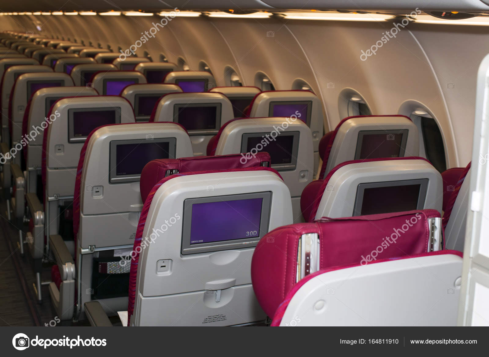 Qatar Airways Airbus A320 economy class seats — Stock Photo