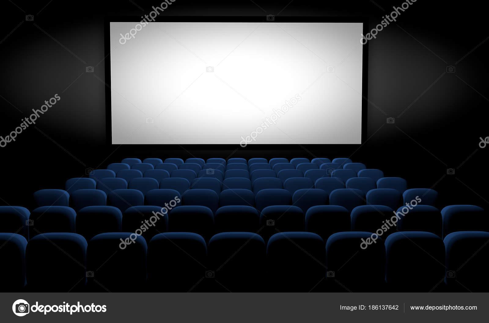Sala Cinema Com Lugares Azuis Tela Branco Ilustra O Fotografias  -> Imagem De Sala De Cinema