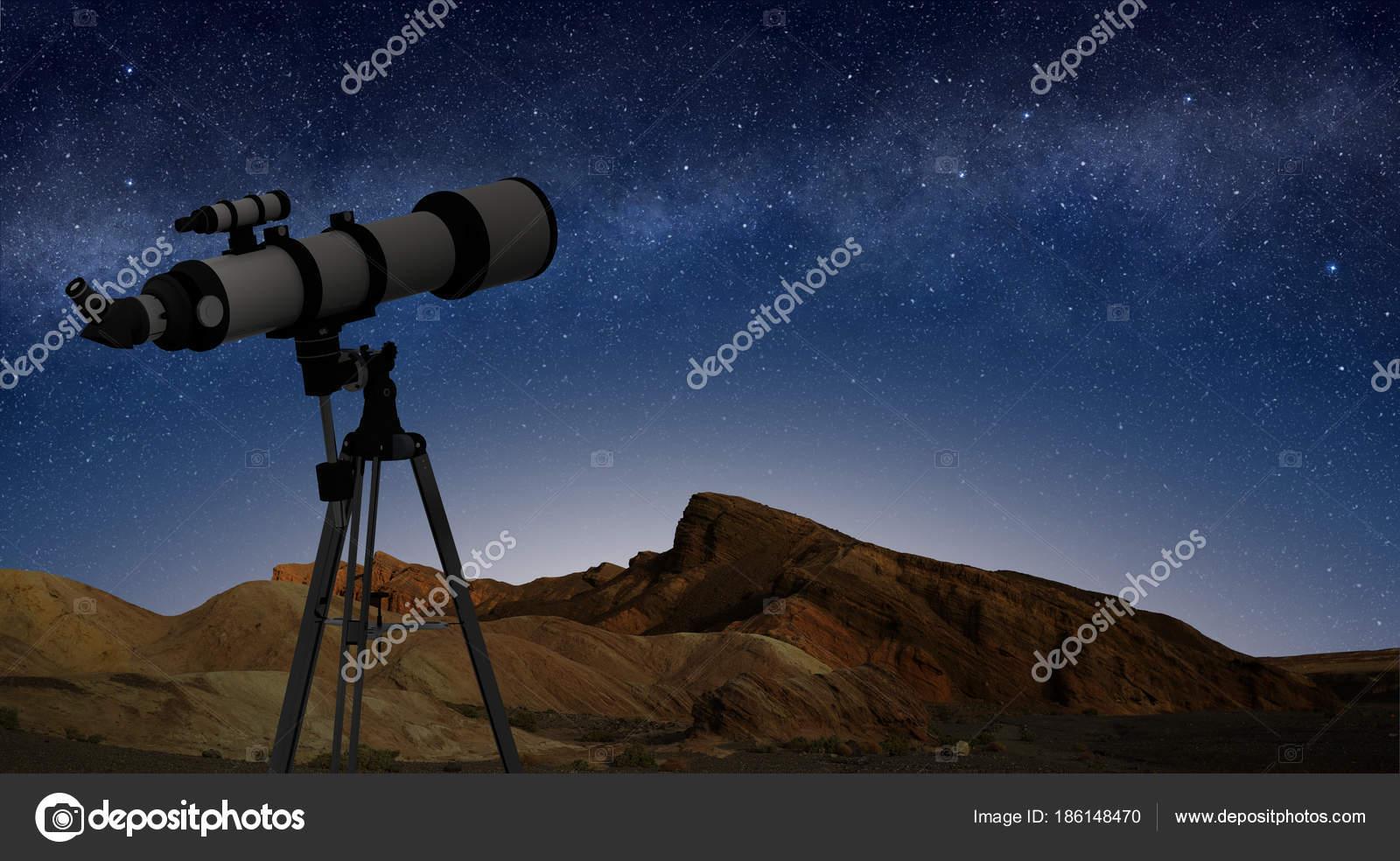 Auf einem stativ auf nächtlichen sternenhimmel teleskop