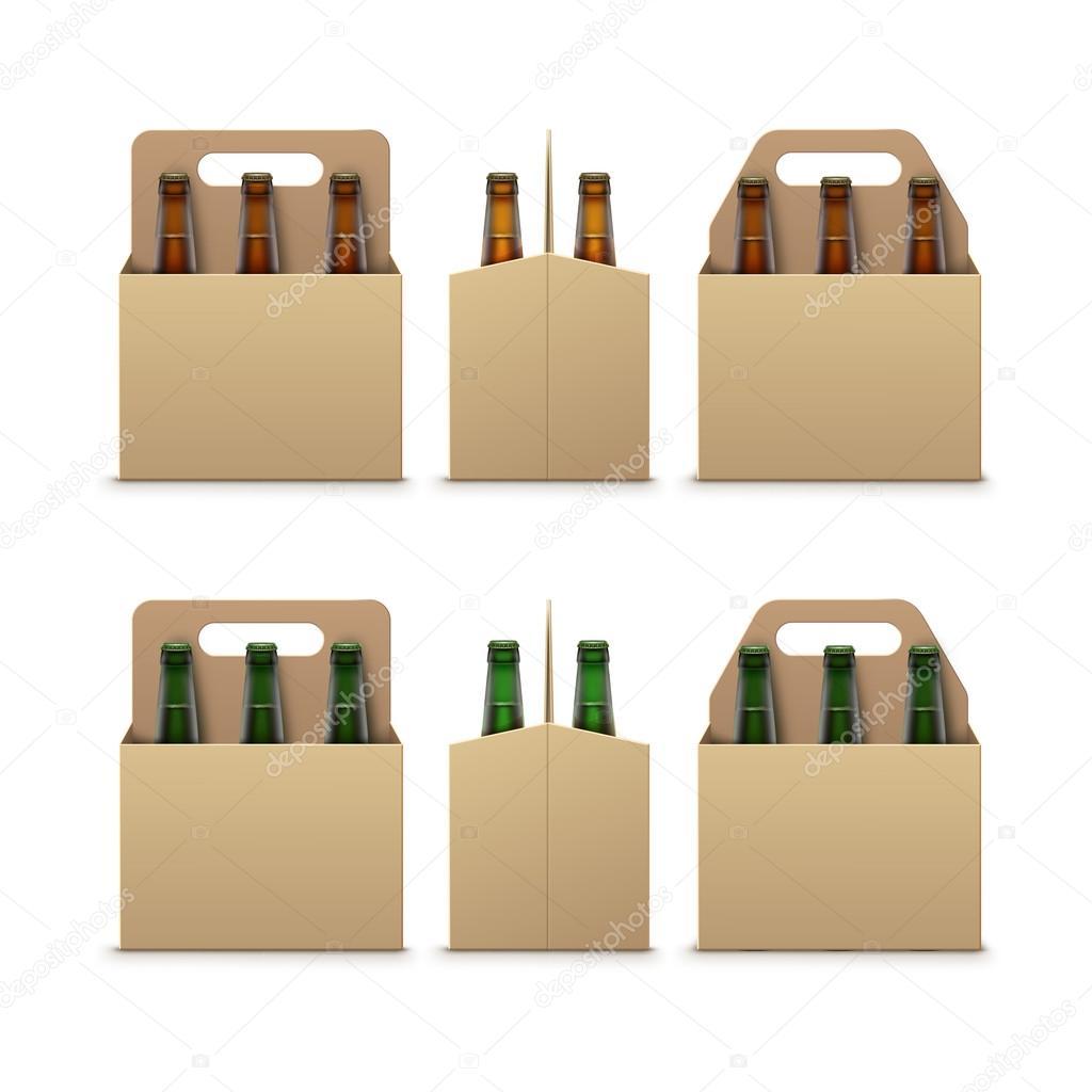 Frisch Braun grüne Flaschen leicht dunkles Bier mit Verpackung aus Karton  UX19