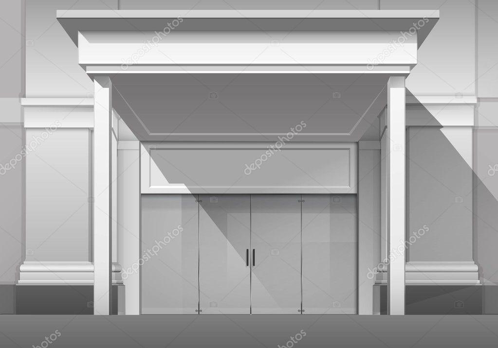 Geschlossene haustür  Shop Boutique Gebäude Ladenfront mit geschlossenen Glas Haustür ...