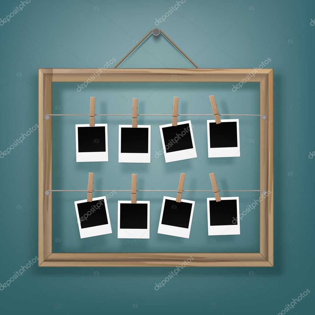 pinos com molduras e porta retrato na corda vetor de stock zonda 126611222. Black Bedroom Furniture Sets. Home Design Ideas