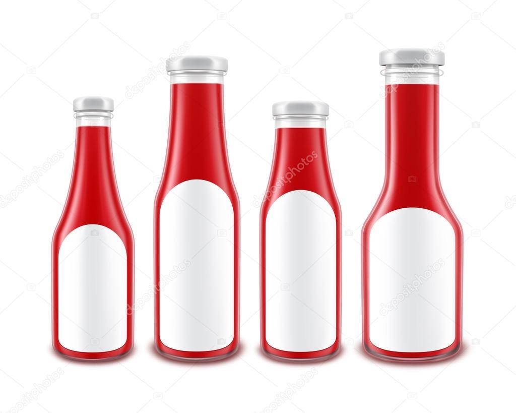 Satz von Red Tomato Ketchup-Flaschen mit Etiketten — Stockvektor ...