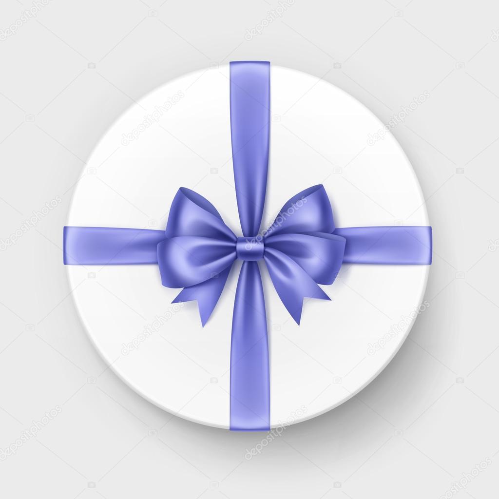 Weiße Runde Geschenkbox mit glänzenden Licht blau violett Satin ...