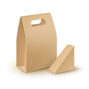 Set of Brown Blank Cardboard Rectangle Triangle Take Away Handle Lunch Boxes For Sandwich, Food, Gift, Other Products