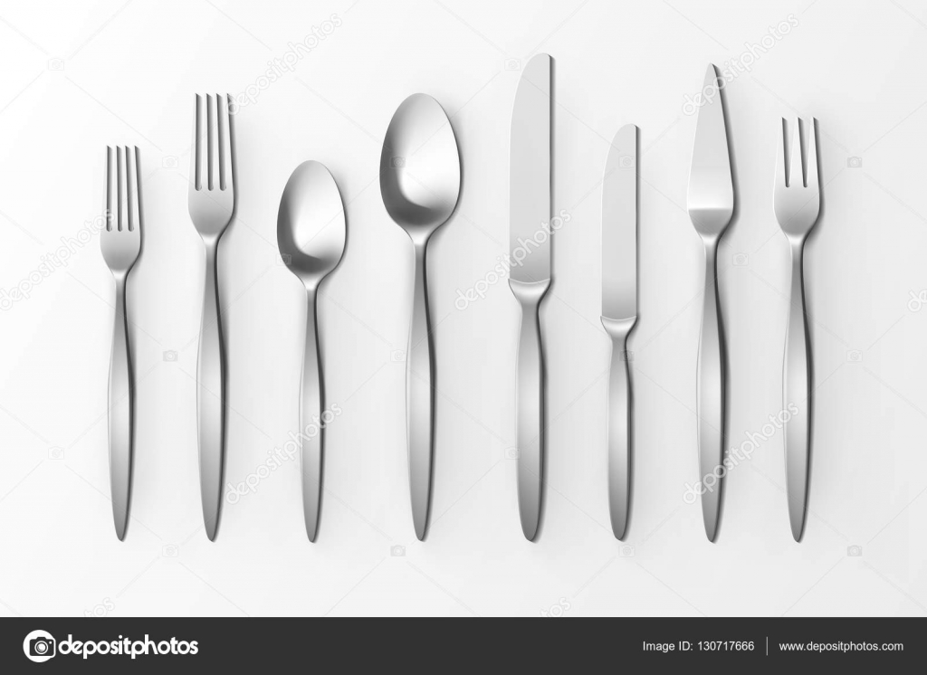 Cutlery Set of Silver Forks Spoons and Knifes Top View Isolated on White Background. Table & Cutlery Set of Silver Forks Spoons and Knifes Top View Isolated on ...