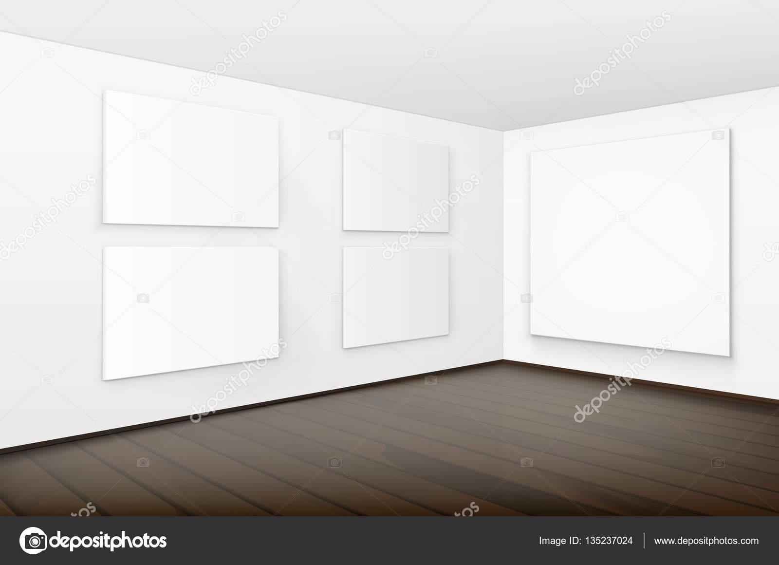 Vacío en blanco blanco Mock carteles fotos marcos en paredes con ...