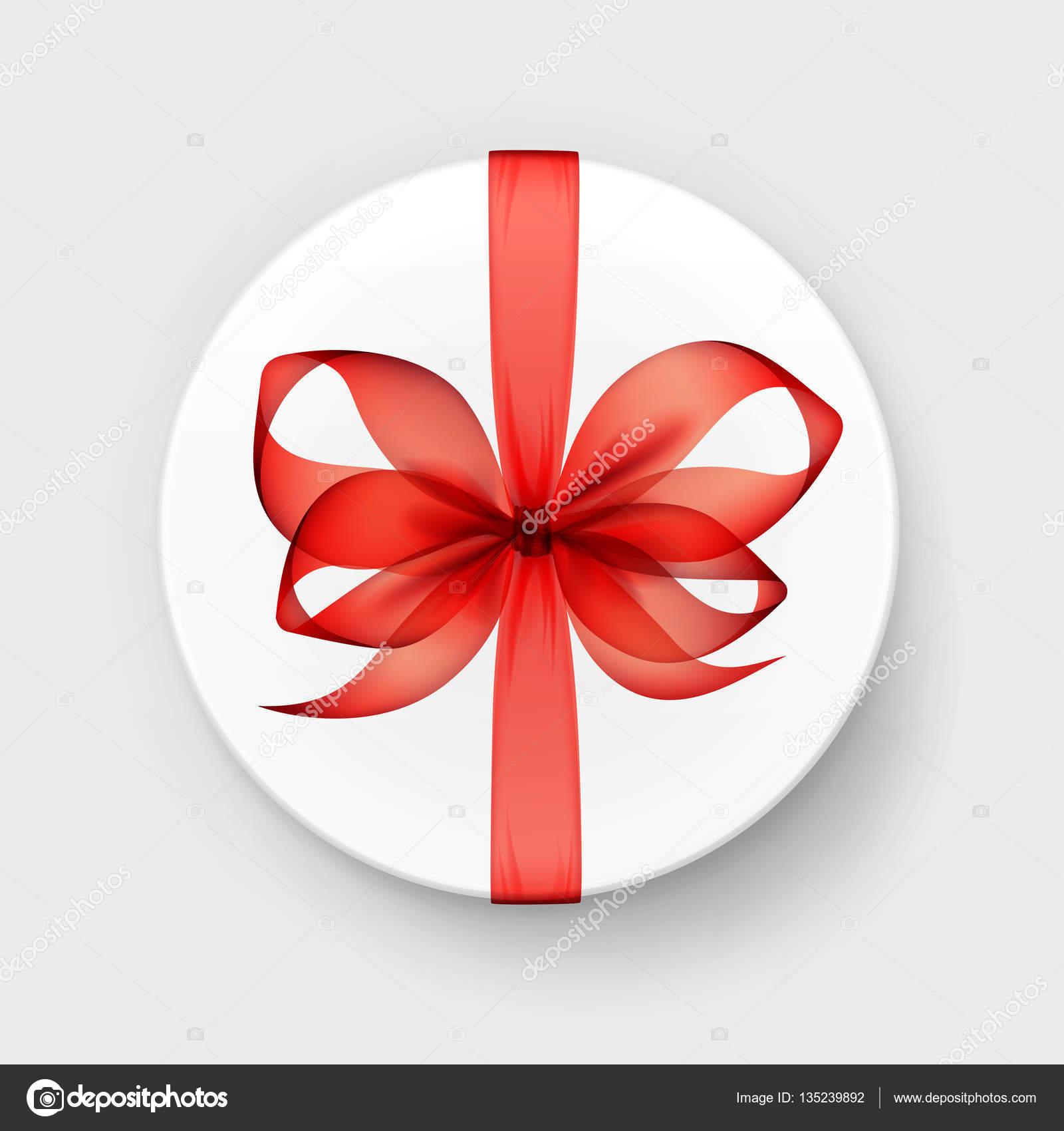 bo te de cadeau rond blanc transparent rouge carlate arc et ruban top view close up isol sur. Black Bedroom Furniture Sets. Home Design Ideas
