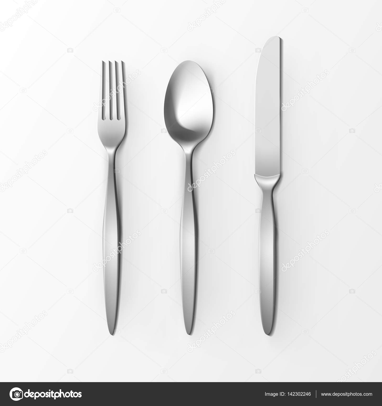Cutlery Set of Silver Fork Spoon and Knife Top View Isolated on ...