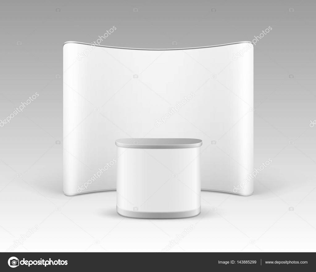 14e1b46f6bc427 Вектор білий пусті торгівлі виставка спливаючих стенд для презентації з  просування лічильник таблиці ізольовані на білому тлі — Вектор від ...
