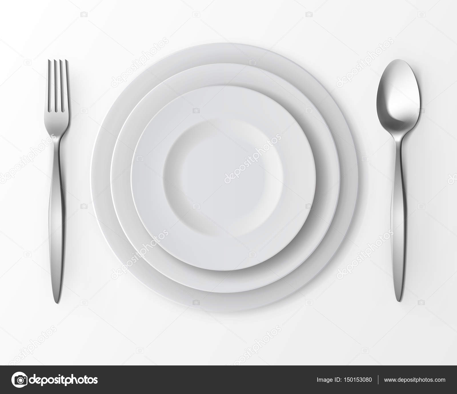 Set of White Empty Round Plates with Fork and Spoon Top View ...