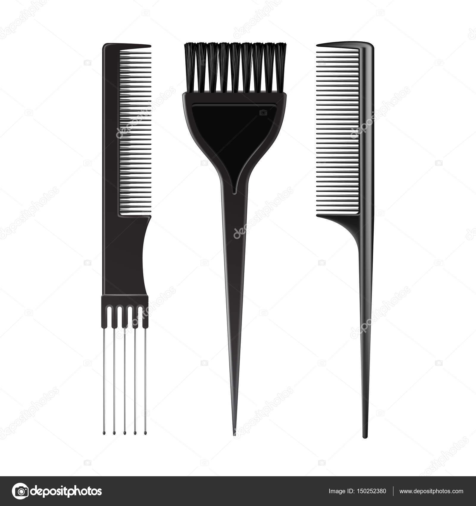 Vector Set of Black Plastic Hair Coloring Brush Comb Professional ...