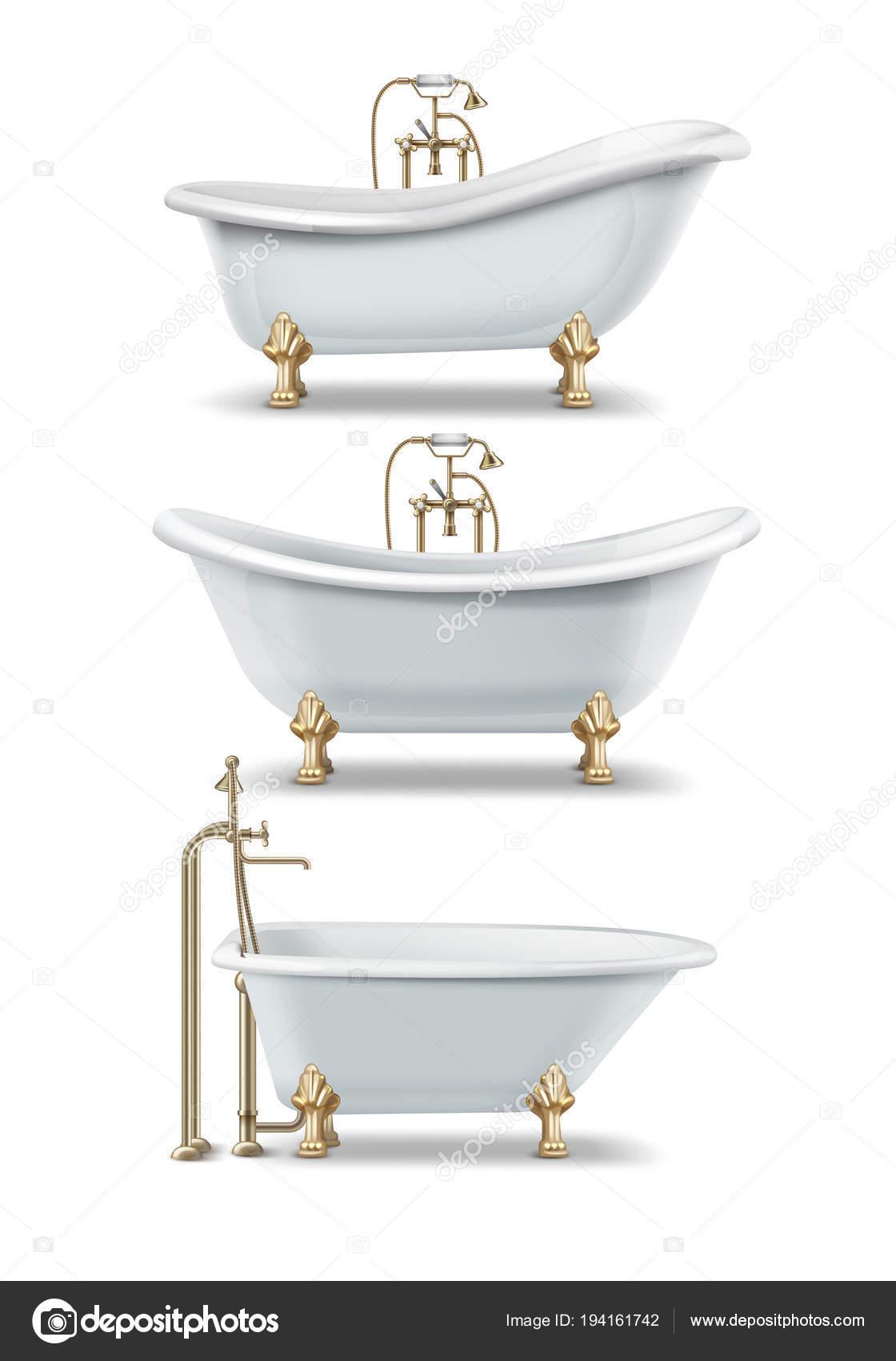White Vintage Bathtubs U2014 Stock Vector