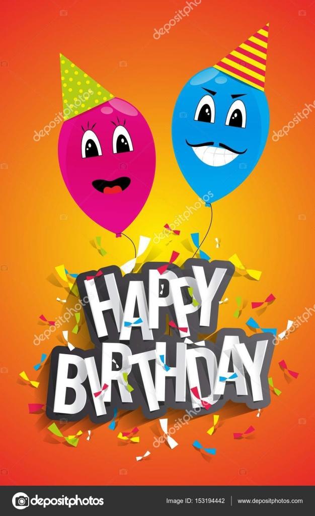 Cartolina D Auguri Di Buon Compleanno Con Palloncini Divertenti