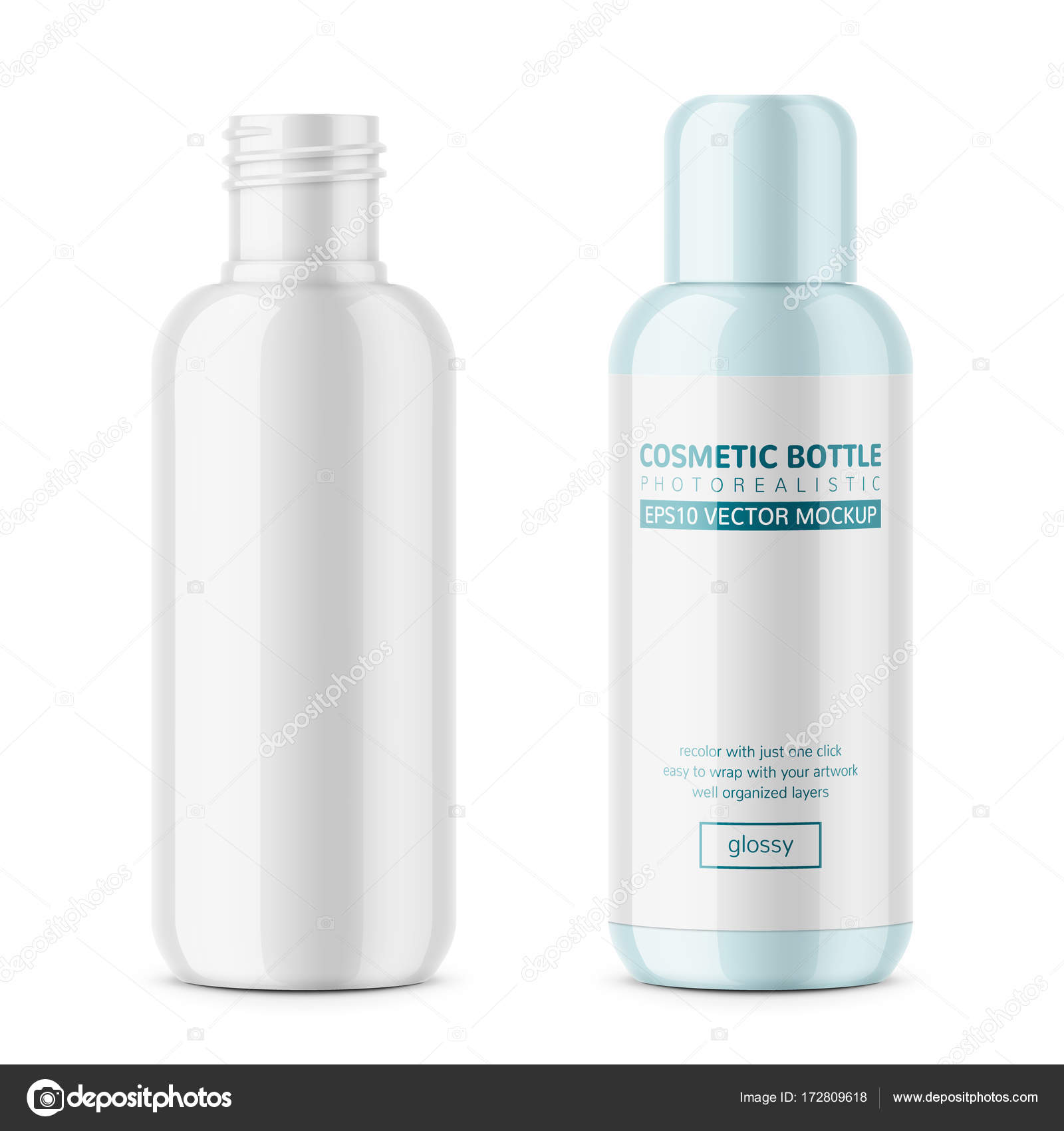 White glossy plastic cosmetic bottle template. — Stock Vector ...